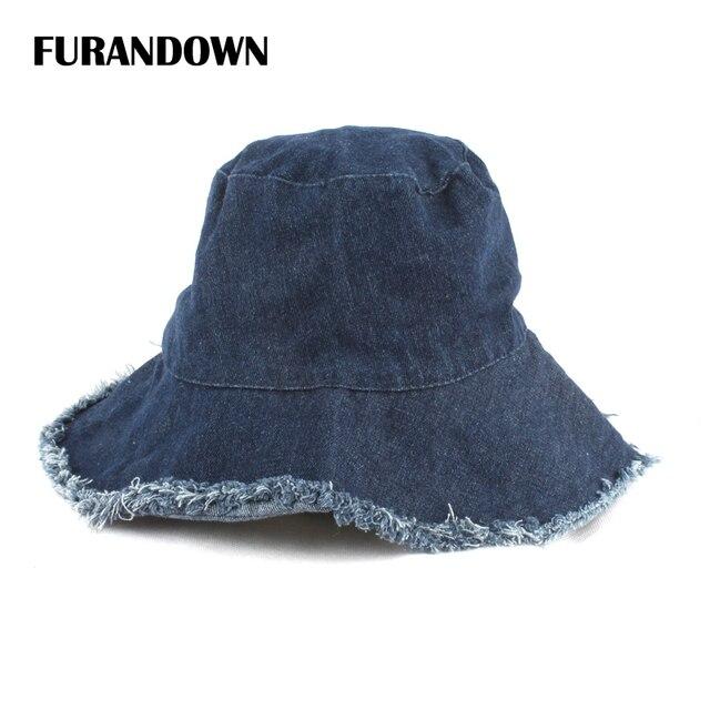 Summer Washed Denim Sun Hat Women Fashion Tassel Floppy Bucket Cap Ladies  Wide Brim Beach Bucket Hats chapeu pescador 92879f0d1fd