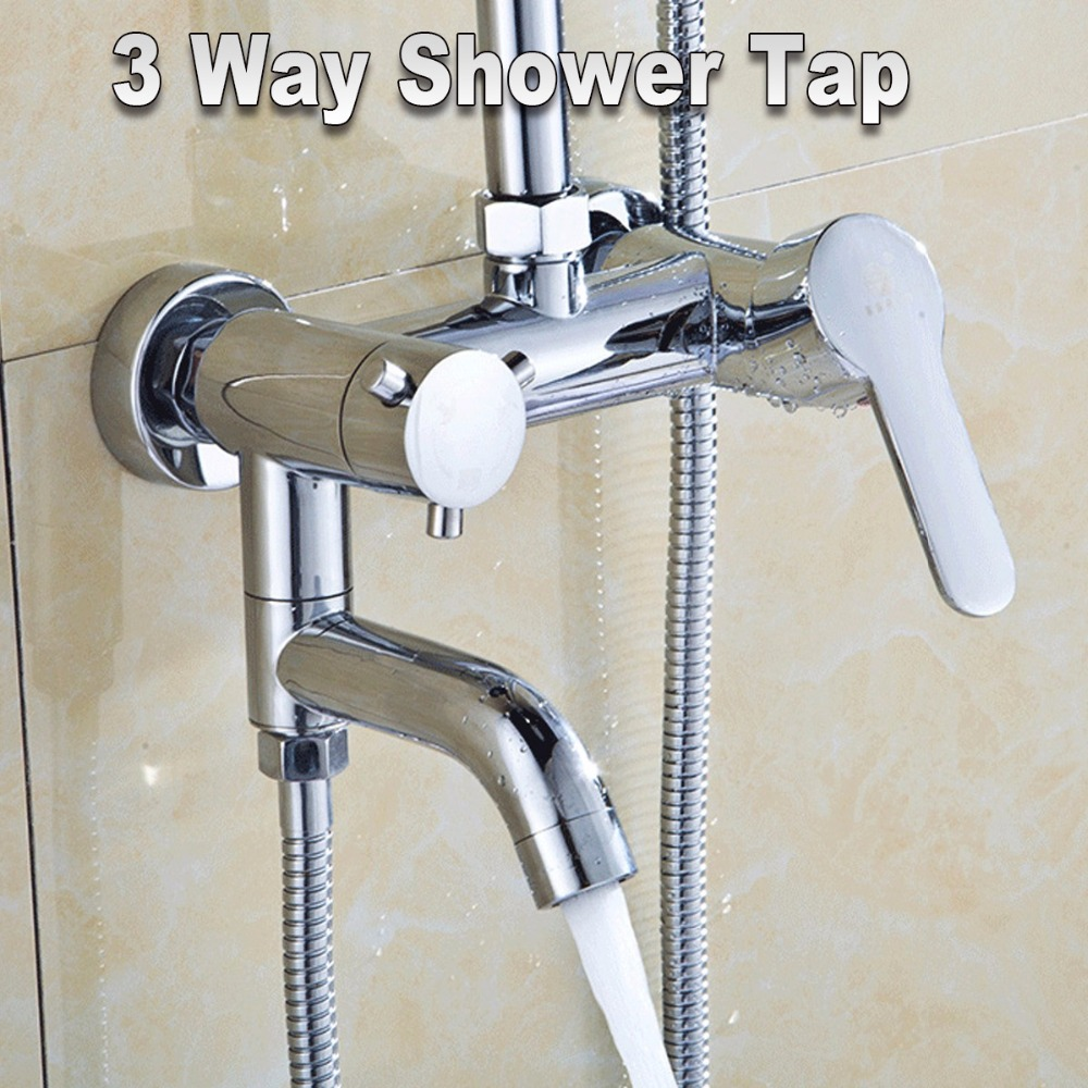 Wall Mount Hot Cold Shower Mixer Faucet Chrome Brass Waterfall Bathroom Sink Faucet Basin Mixer Tap