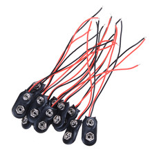 Wholesale 10CM I Type 9V Battery Snap Holder Clip Connector Hard Shell Cable Lead 10Pcs(China)