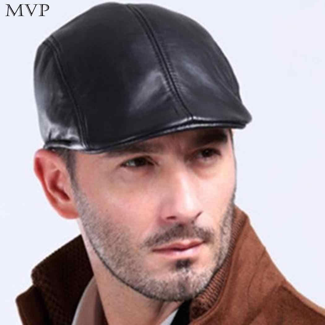 Autumn Winter Hat Men Fashion Flat Cap Beret Men Sun Newspaper Cabbie Caps  Outdoor 33fea92dad85