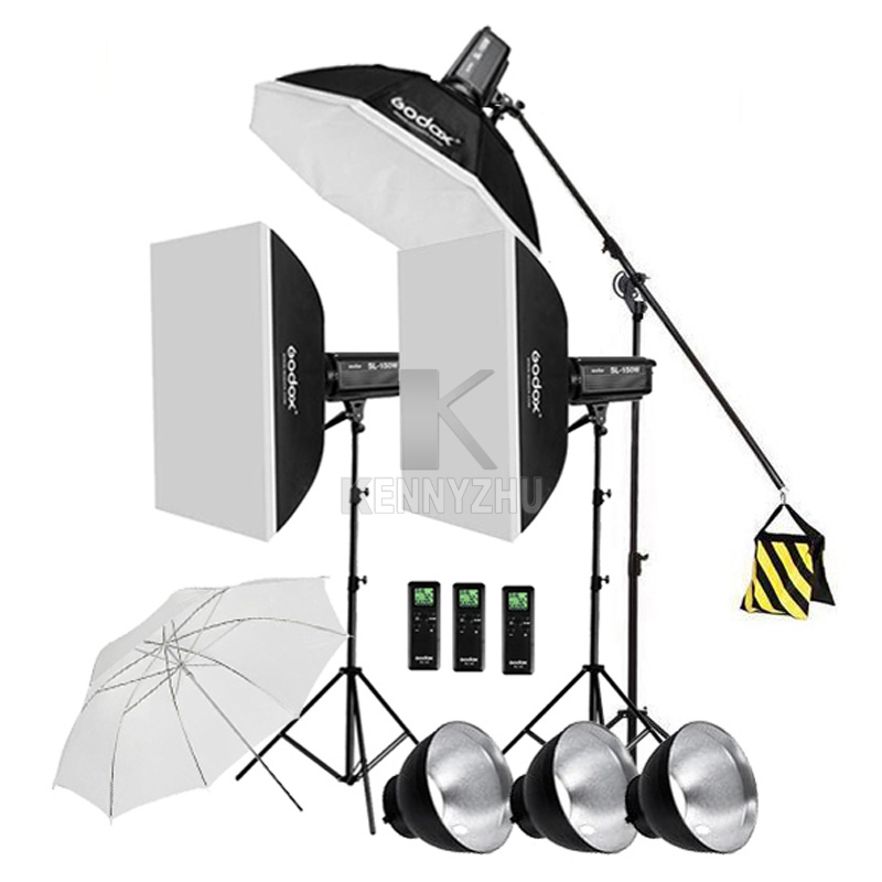 3x Godox Continuous Lighting SL-200W CRI93+ 16 Channels 5600K 200W LED Video Light Kit +120cm Octa Softbox +2.8m Stand +Boom Arm