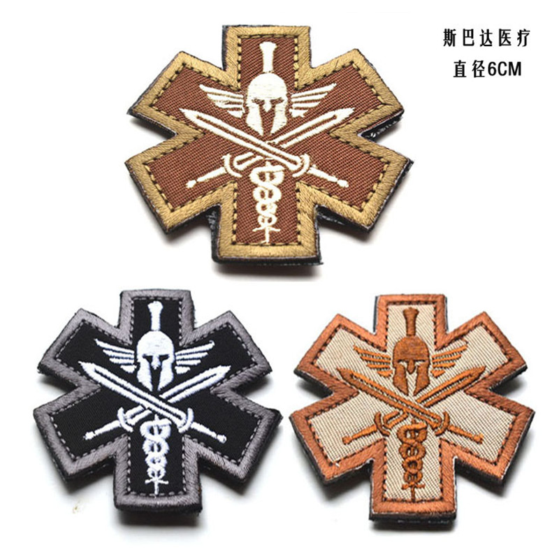 3D Spartan Medic Tactical Embroidered Patch Stripes Military EMT Army Badge Tactical Morale Embroidered Patches Appliques