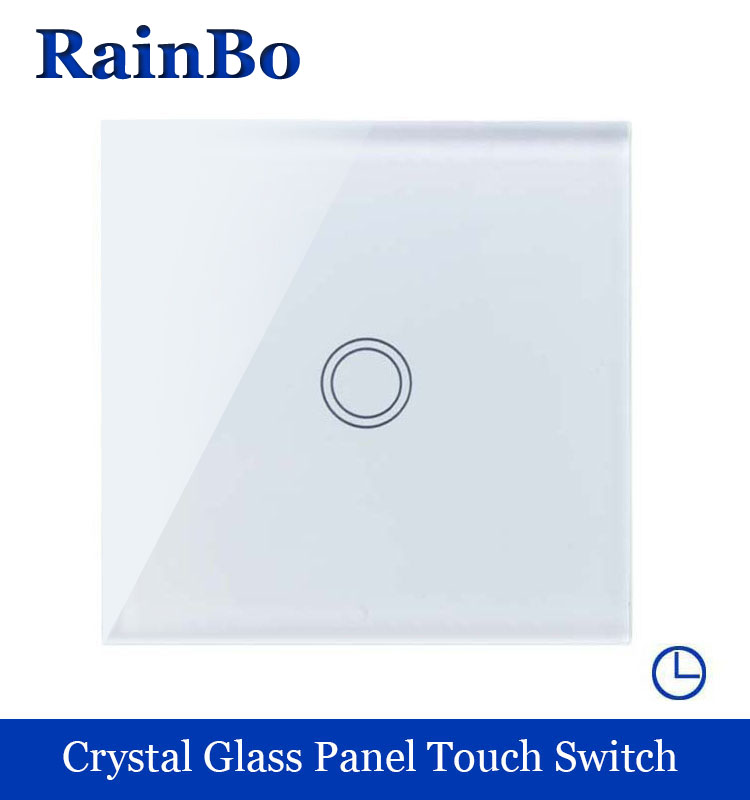rainbo Crystal Glass Panel  EU Wall time Switch EU time Touch Switch Screen Wall Light Switch 1gang1way 110~250V  A1911XDSW/B 2017 smart home crystal glass panel wall switch wireless remote light switch us 1 gang wall light touch switch with controller