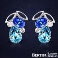 2017 jóias popular Cristal Austríaco Azul Fruto Do Parafuso Prisioneiro Brincos Para As Mulheres de Alta qualidade brinco Bijuterias Nickle livre antialérgico