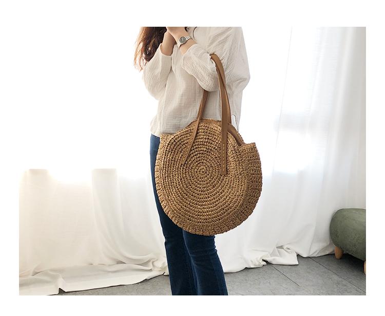 Round Straw Beach Bag Vintage Handmade Woven Shoulder Bag Raffia circle Rattan bags Bohemian Summer Vacation Casual Bags 12