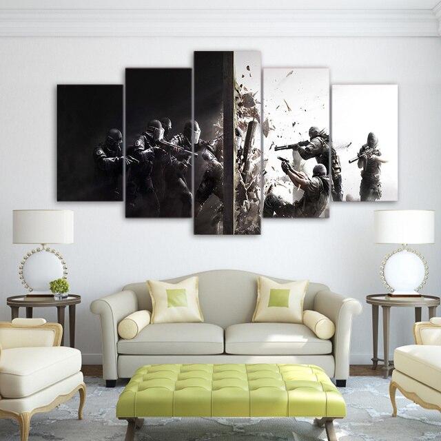 5 piece canvas art HD print rainbow six siege game prints paintings ...