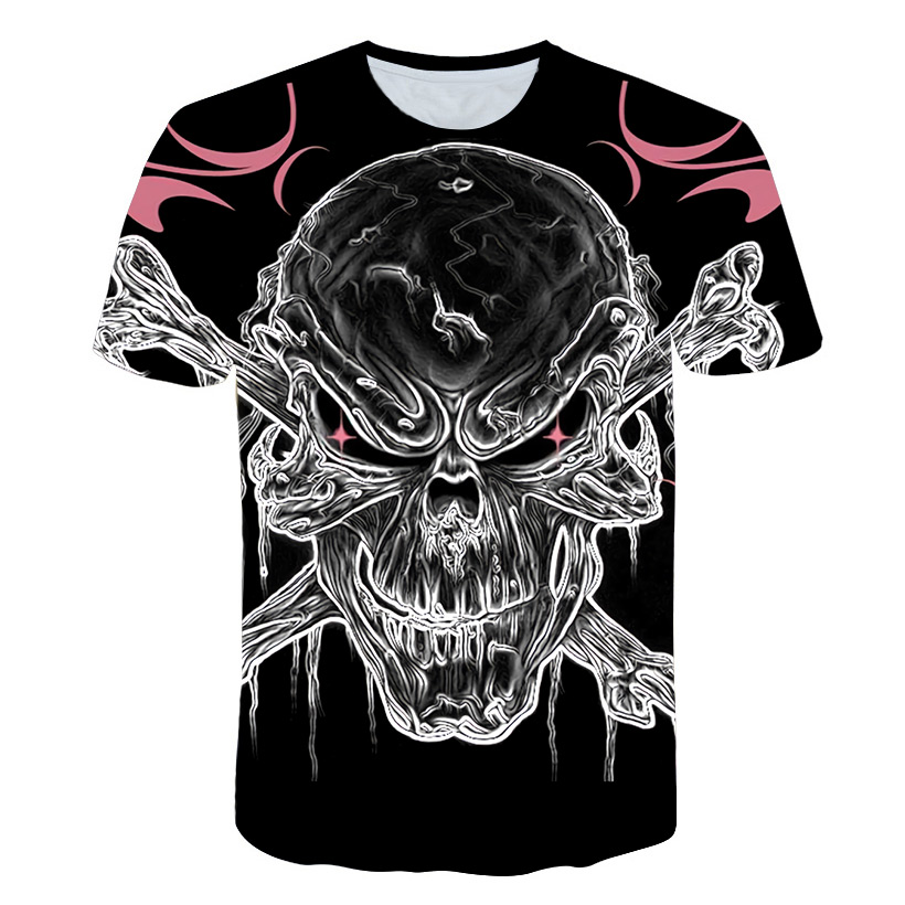 Summer new product 3 d printing skulls male compression tight round collar T-shirt with short sleeves fitness leisure T-shirt