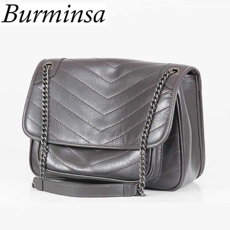 Burminsa Quilted Ladies Genuine Leather Bags Female Chain Shoulder Messenger Bags Designer Black Crossbody Bags For