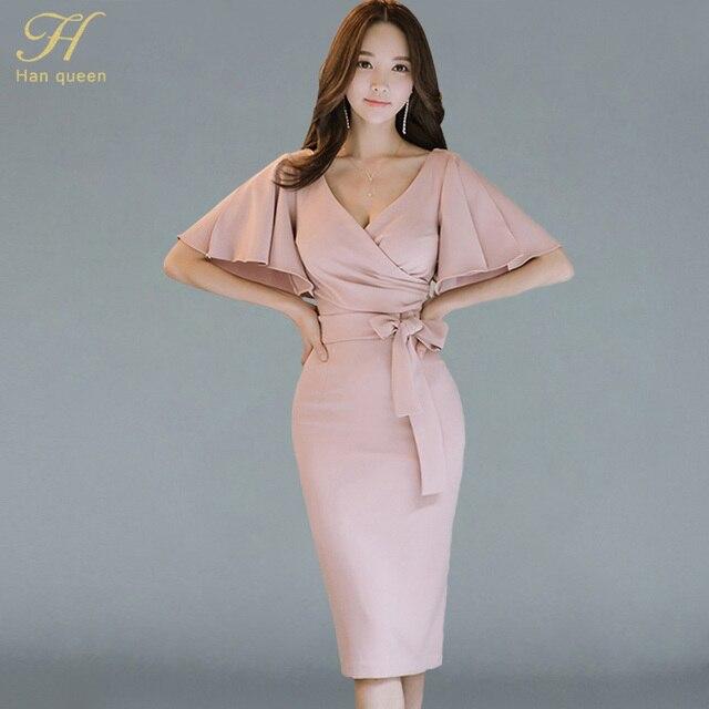 e48b06a95320 H Han Queen Summer Women Bow Sexy Pink Bodycon Pencil Sheath Retro Formal  Wedding Evening Party Special Occasion Dress