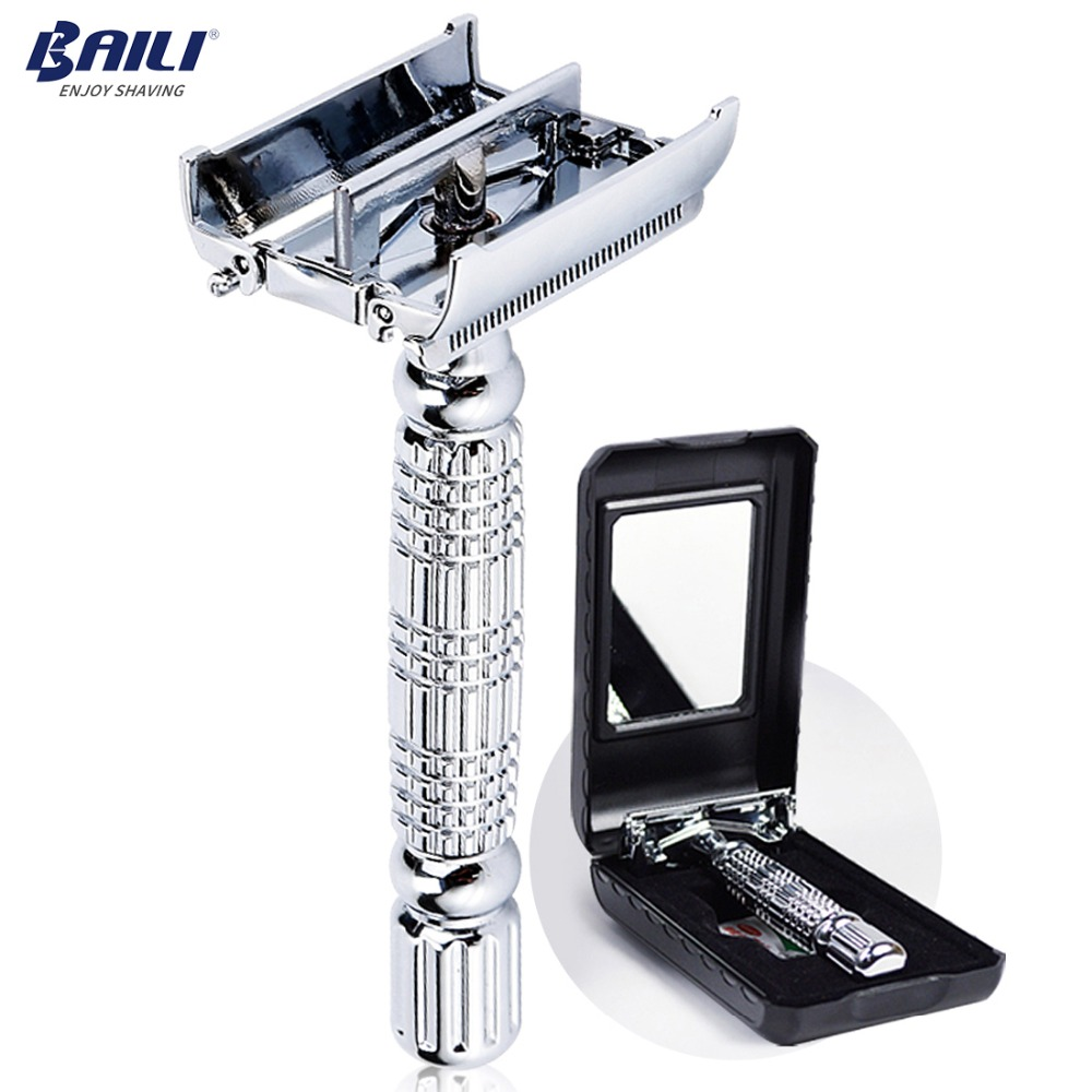 BAILI Barber Safety Blade Razor Shaver Double Edge Butterfly Twist Open T Shaped Unisex 1 Travel Case with Mirror BD179-in Razor from Beauty & Health