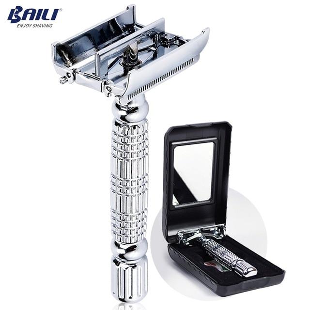 BAILI afeitadora con hoja de seguridad para peluquero, doble filo, mariposa, giro, abierto, en forma de T, Unisex, 1 funda de viaje con espejo BD179