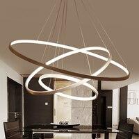 White or Black Modern Aluminum LED circle rings hanging pendant chandelier lights for living room Acrylic Lustre Chandelier