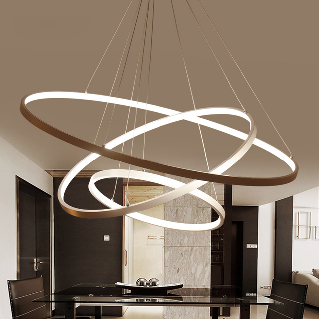 White Or Black Modern Aluminum Led Circle Rings Hanging Pendant Chandelier Lights For Living Room Acrylic