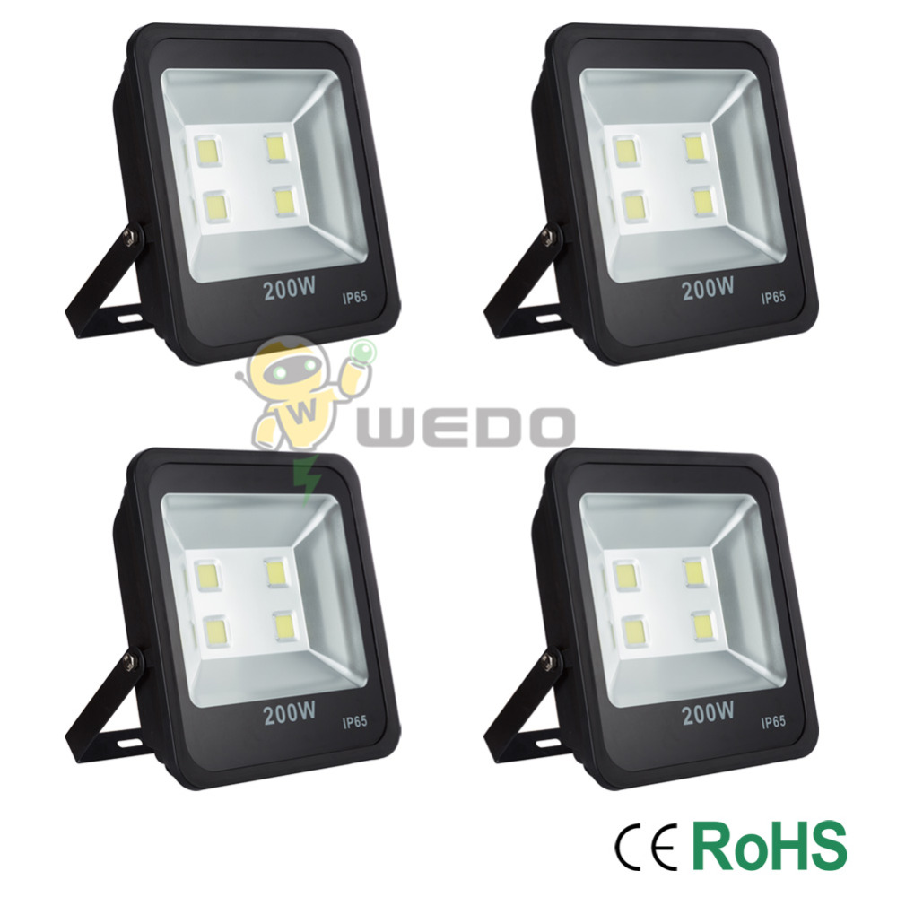 4PCS IP65 200W Black LED Flood Light Waterproof Outdoor Garden Yard Non-Dimmable Cool White/Warm White Lamp