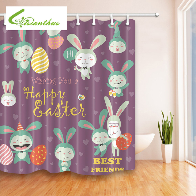 Polyester Waterproof Shower Curtain Funny Cartoon Easter Rabbit 12pc ...