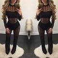 Women Striped Slim Bodycon Jumpsuit Playsuit see through Bodysuit Sexy Club Elegant Rompers Womens Mesh Jumpsuit