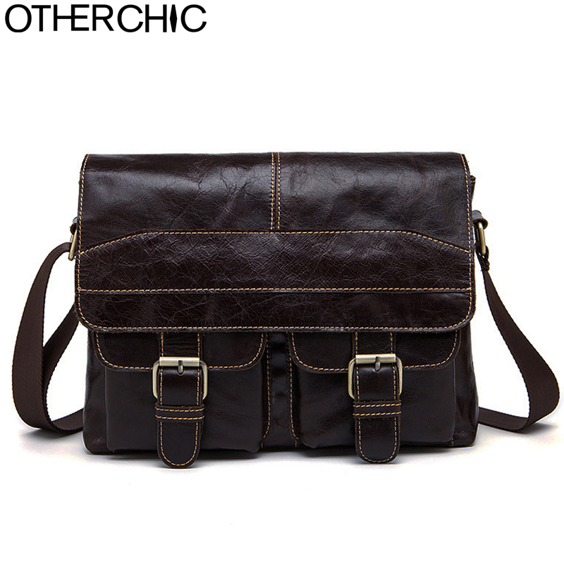 OTHERCHIC Crazy Horse Genuine Leather Men Messenger Bags Men Vintage Quality Travel Bag Crossbody Shoulder Bag for Men 7N04-39 crazy horse genuine leather bag men vintage messenger bags casual totes business shoulder crossbody bags men s travel handbags