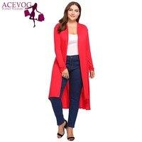 Acevog المرأة طويلة سترة سترة الخريف كبير الحجم فوا المفتوحة الجبهة متماثلة طويل معطف أنثى القمم زائد الحجم 5xl