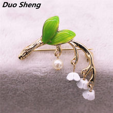 Forest series green enamel plant style drop glaze alloy tree branch Imitation pearl girl collar pin brooch factory direct sale(China)