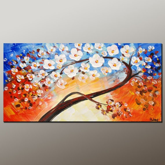 100% Hand Made Framed Oil Painting White Wood Flower Wall Pictures For Living  Room Canvas