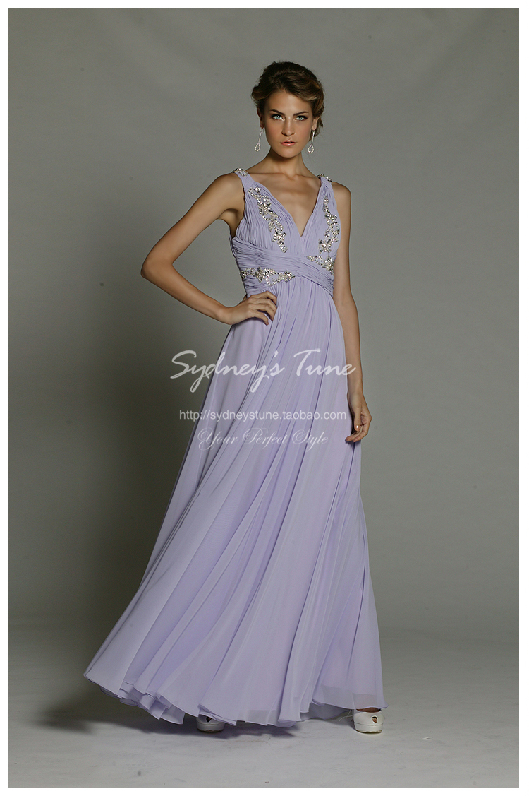free shipping robe de soiree 2014 new fashion sexy cheap v-neck vestido de festa crystal chiffon longo long   evening     dresses