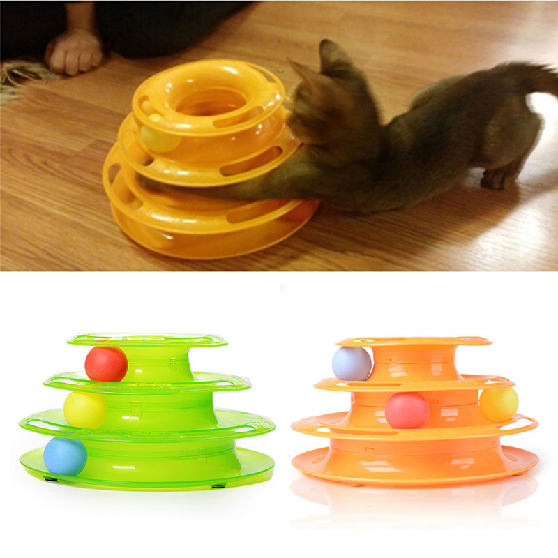 Plastic Three Levels Tower Tracks Disc Cat Toy Amusement Shelf Play Station Pet Cats Triple Play Disc Ball Toys Jouet Chat