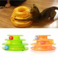 Plastique trois niveaux tour pistes disque Chat Jouet Amusement étagère jouer Station Pet Cats Triple jouer disque balle jouets Jouet Chat