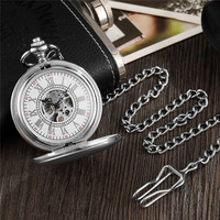 Vintage Silver Pocket Watch Mechanical Man Hand Wind Steampunk Necklace Fob Watch Chain Roman Numerals Lady Clock For Women Men