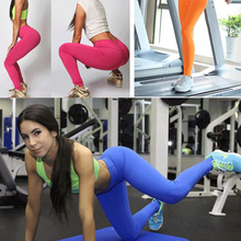 Women Solid Color Running Gym Sports High Waist Sexy Yoga Pants Workout Leggings Fitness elasticity Trousers D118