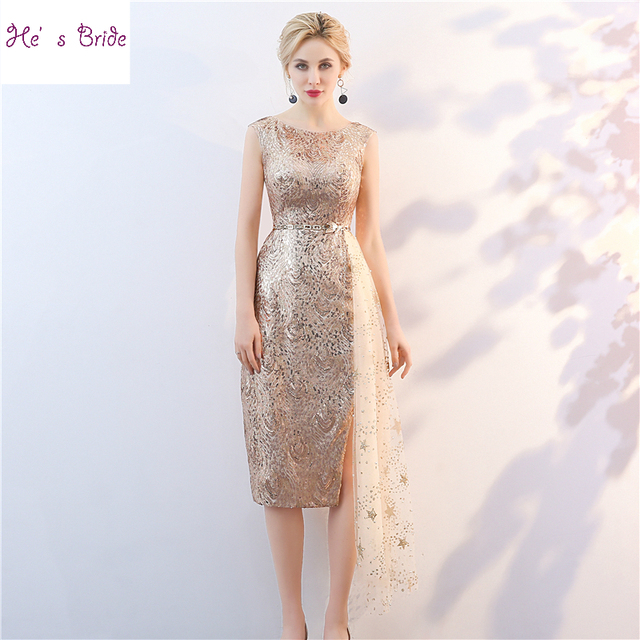 6ea1c8837e795 US $72.24 16% OFF|He's Bride 2018 New Cocktail Dress Champagne Gold Sexy  Slim Straight Sleeveless Sequins Knee length Party Gown Robe De Soiree-in  ...