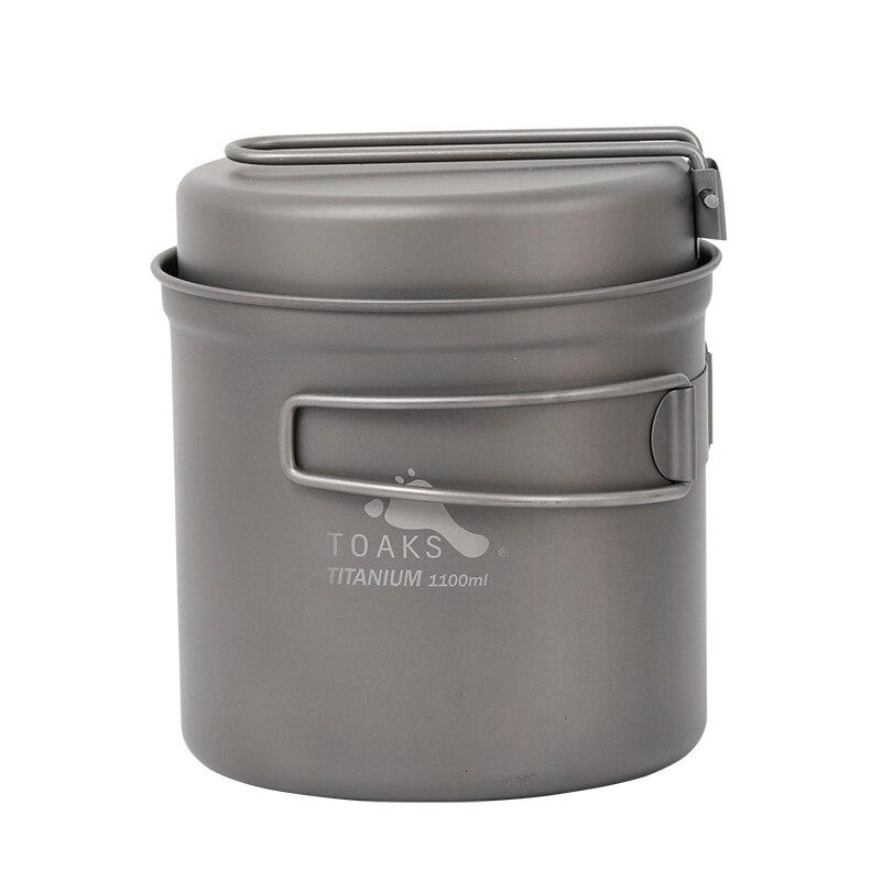 TOAKS 1100ml Cookware Set Ultralight Titanium Pot Frying Pan Outdoor Camping Bowl Cup Picnic