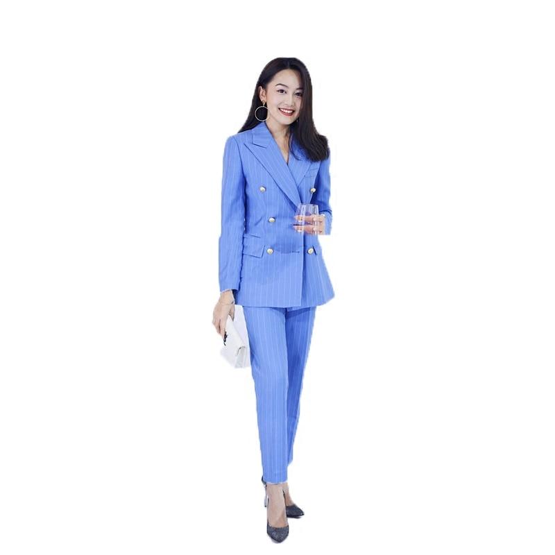 Top Style Nouvelles Rayé Blazer Rayures Casual Costume Mode Deux Britannique De Femelle Tempérament Dames Femmes pièce 2018 Bleu vwxYXE4q