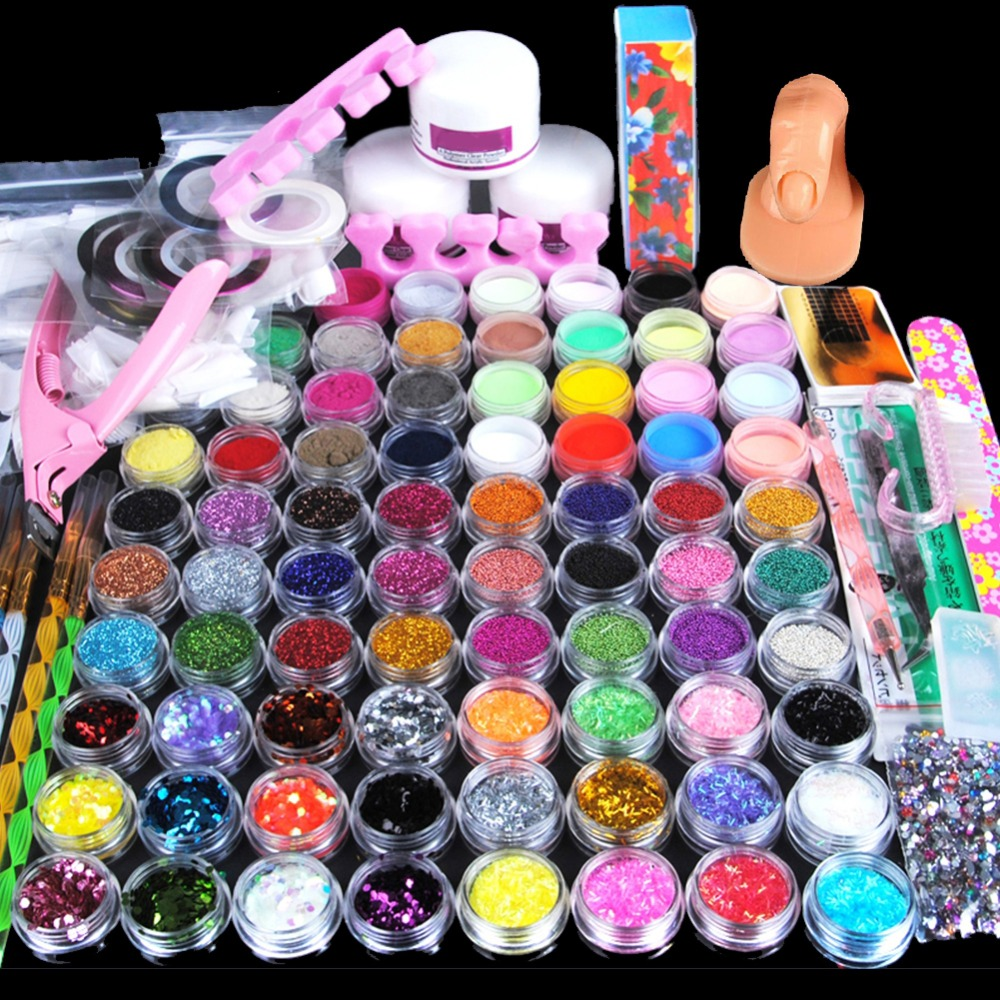78PCS Nail Glitter Mixed Nail Art Powder UV Gel Kit Manicure Set Acrylic Powder Brush Acrylic Nail Kit Design For Nail Polish pro starter kit nail salons kit nail art acrylic powder french tips 9w uv lamp glitter powder uv gel manicure set