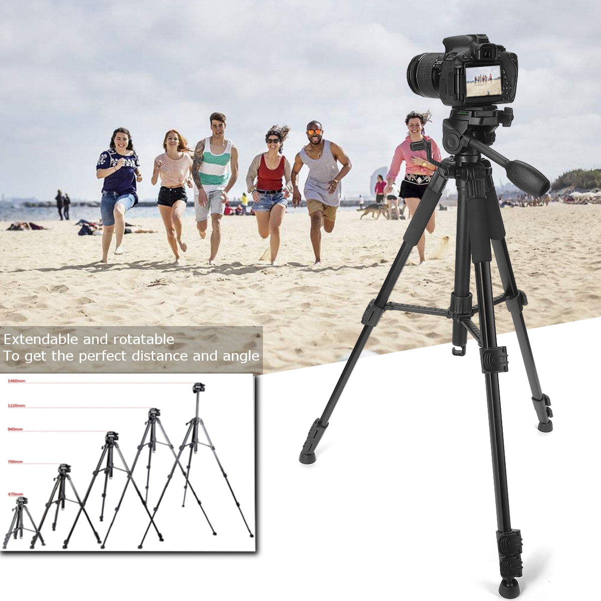 Maximum Tripod Load 3kg Aluminum+ABS Adjustable Monopod Telescopic Tripod Stand Holder Fit For DSLR Camera Camcorders Black low price monitor head tripod camera telescope mini stand adjustable tripod free shipping