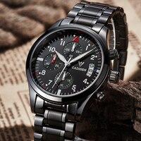 New CADISEN Men Water Resistant Stainless Steel Watch Leisure Fashion Leather Winner Quartz Watch Luxury Brand