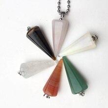 12X32mmNatural Fluorite Necklace Pendant Gem Stone Quartz Bullet Hexagonal Point Pendulum Column Reiki Healing Chakra Jewelry цены онлайн