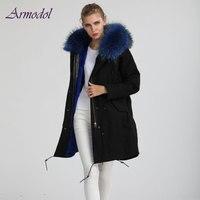 2017 зимние теплые Стиль Для женщин куртка Прохладный Большой енот воротник длинный Ветровка