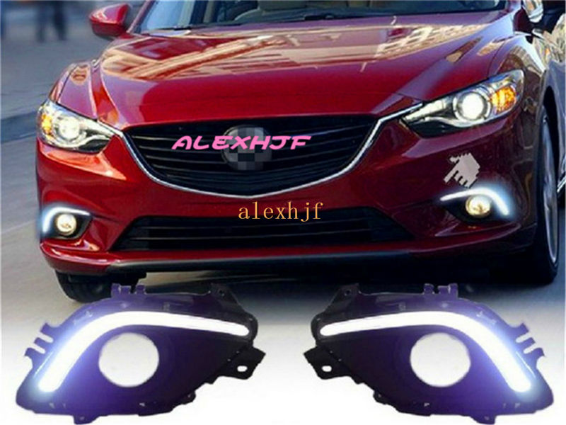 July King LED Guide Daytime Running Lights DRL With Fog Lamp Cover Case for Mazda 6 ATENZA 2013+, 1:1 replacement, free shipping july king led daytime running lights drl with fog lamp cover case for chevrolet malibu 2012 15 1 1 replacement free shipping
