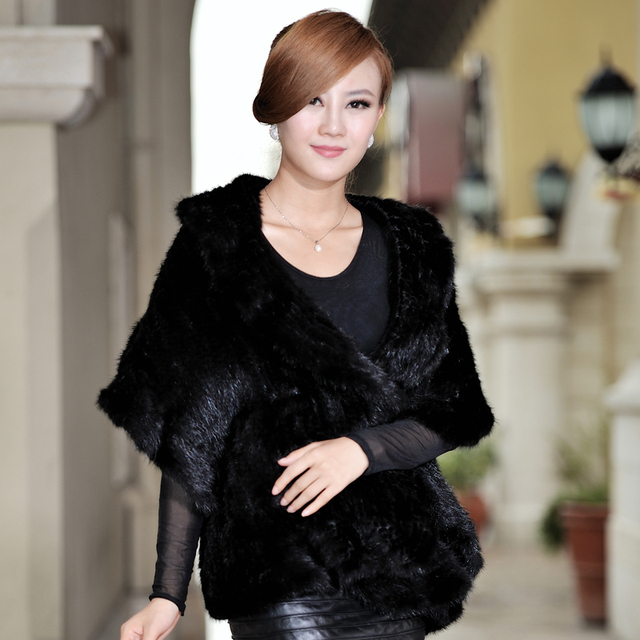 Winter Women's Genuine Natural Knitted Mink Fur Shawl Ruffle Border Wraps Lady Pashmina Cape VF0352