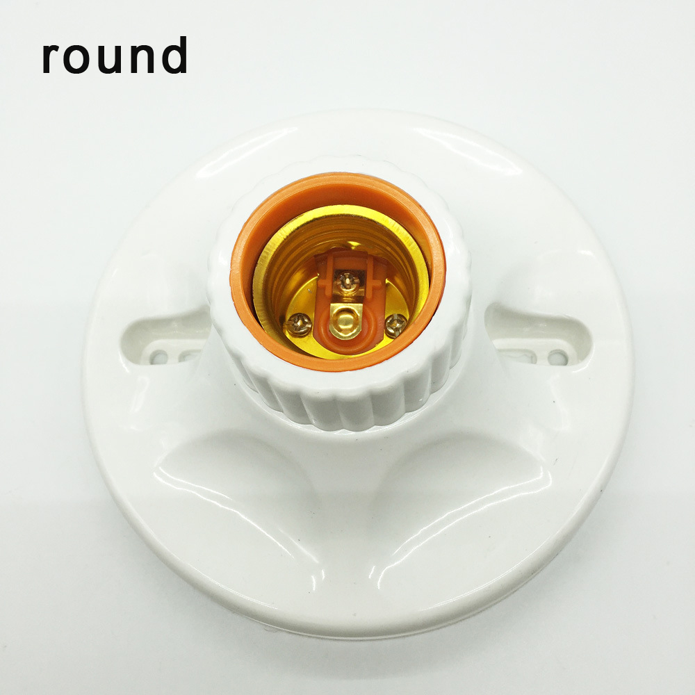 E27 LED Light Bulb Holder Round Square Fitting Socket Switch E27 Base Retardant PBT Hanging Lamp Socket For Home 6A 110V-220V