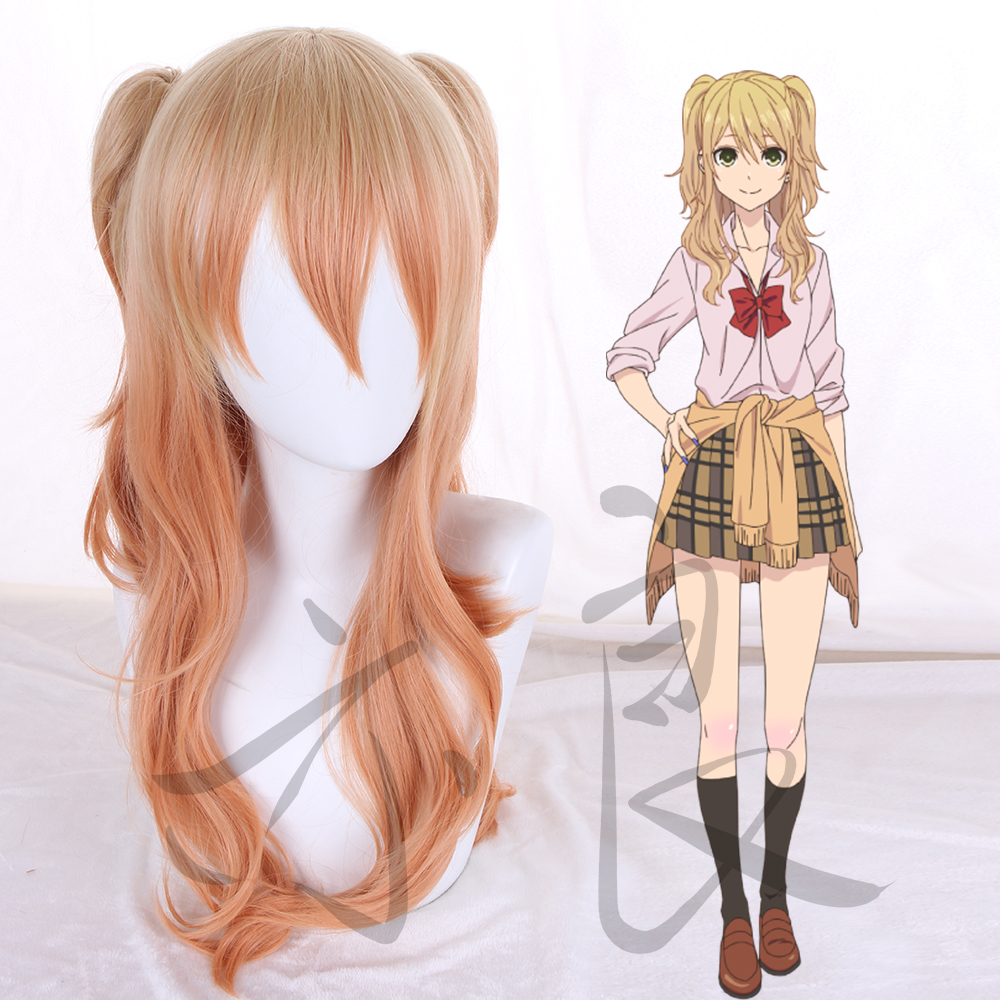 Citrus Shitorasu Aihara Yuzu Cosplay Wig Curly Blonde Orange Mix Synthetic Hair With Chip Ponytails + Wig Cap