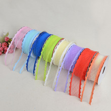 Ribbon DIY Bow Clothing Accessories Material Embossed Belt Oblique Silk Hollow Mesh With Wedding Gift Box Packaging