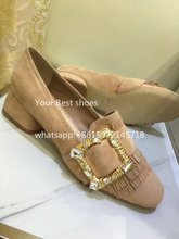 2016 fall Suede Jewel-Buckle 35mm Loafer block heel shoes ladies Square toe Fringed pump with jeweled buckle Slip-on shoes