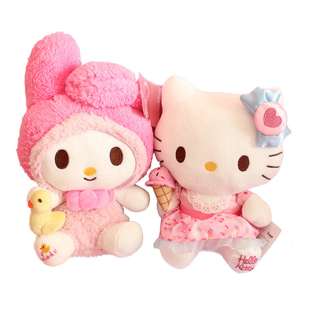 Kawaii Japanese Pink My Melody Hello Kitty Plush Toy Cute Cats Soft