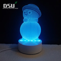 Снеговик в шляпе 3D Glow Светодиодное освещение Игрушечные лошадки ночник с 7 цветов Изменение Xmas лампы с Дистанционное управление
