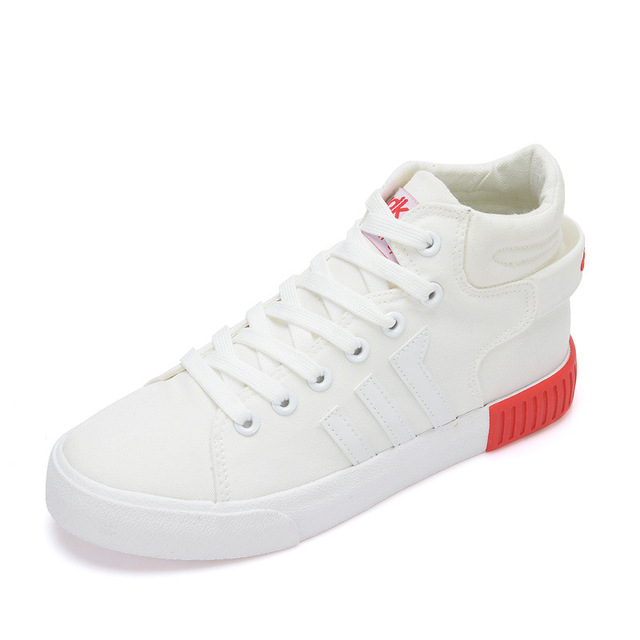 8c909cc0e Youth Woman Autumn Classics Canvas Skateboarding Shoes Student Girl s Boots  Street Shoes Lace Up High Top walking Sneakers White