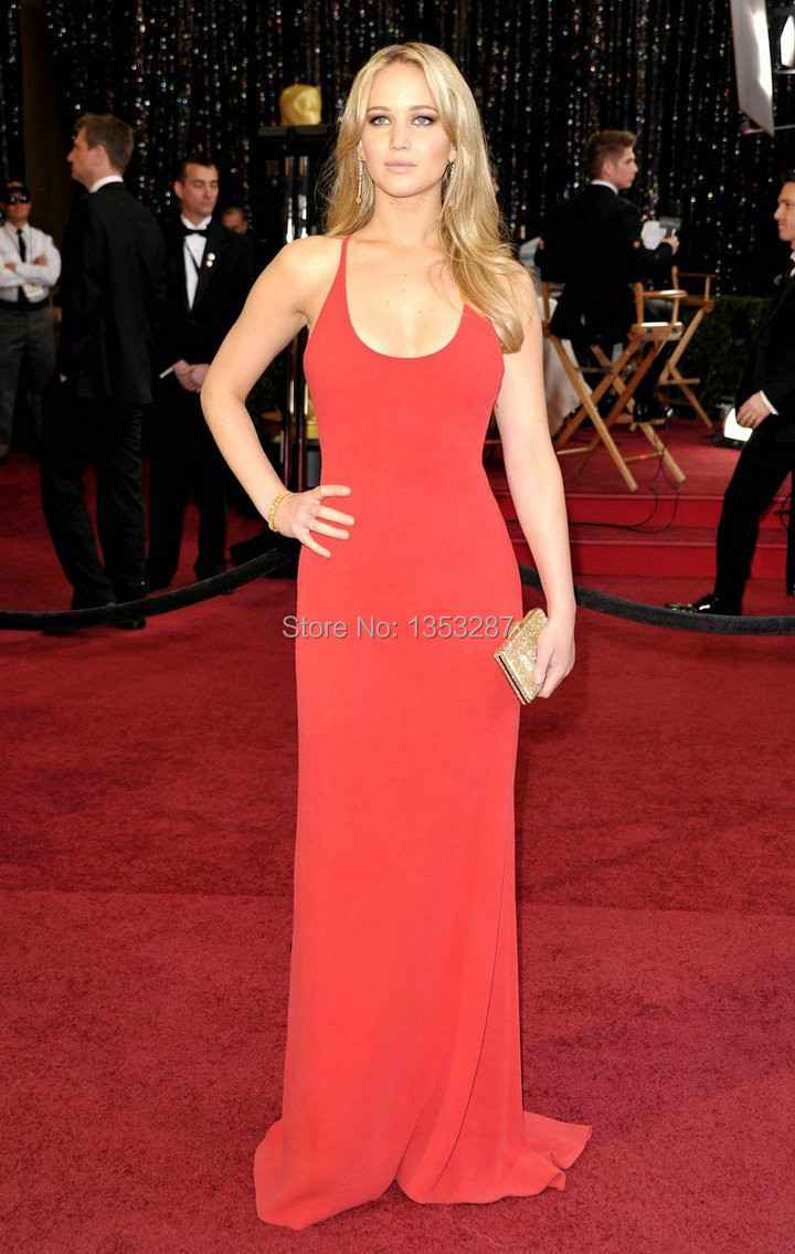 Aliexpress.com : Buy Sexy Jennifer Lawrence Red Celebrity Dress ...