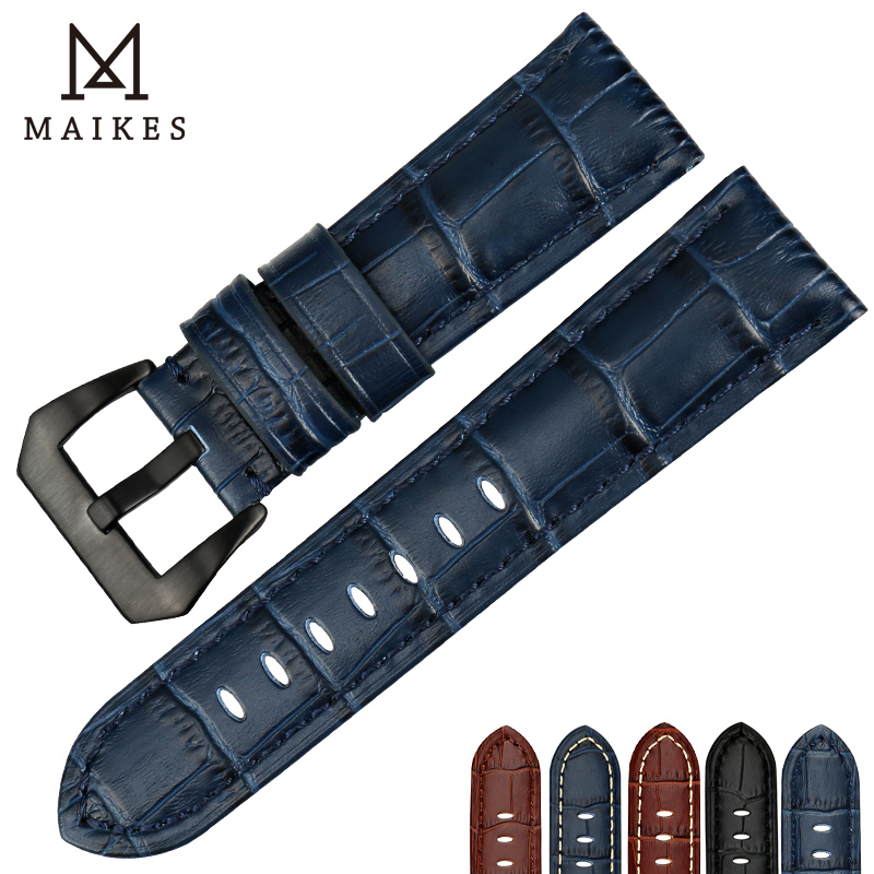 MAIKES Good quality watchbands 22 24 26mm watch accessories watch bracelet genuine leather strap watch bands blue for Panerai maikes 18mm 20mm 22mm watch belt accessories watchbands black genuine leather band watch strap watches bracelet for longines