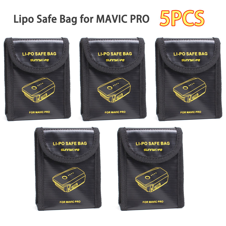 5PCS Lipo Safe Bag Battery Explosion proof Protective Bag Fireproof Fiber Storage Box for DJI MAVIC