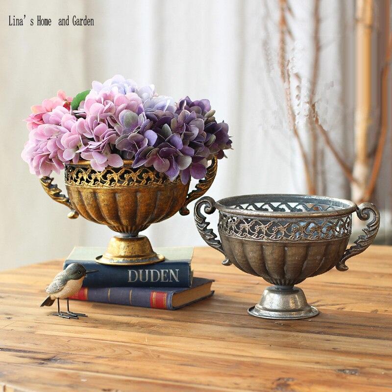 Handcrafted Goblet Design Antique Retro Metal Small Flower Vase
